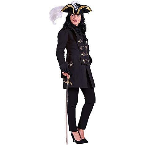 el schwarz Historische Kostüme Piratin Adlige Militär Fasching (L) ()
