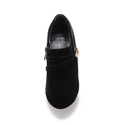 VogueZone009 Damen Blend-Materialien Knöchel Hohe Rein Reißverschluss Hoher Absatz Stiefel Schwarz