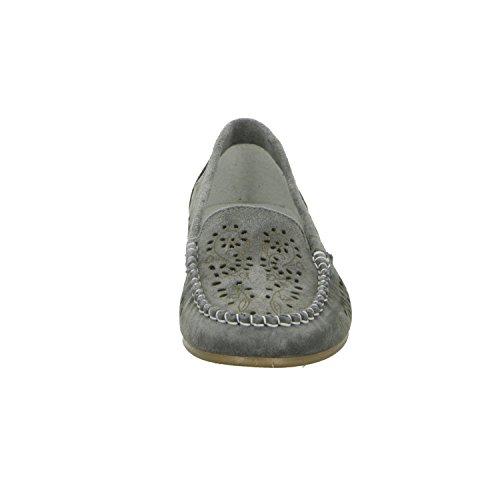 BOXX 8931 Damen Slipper Halbschuh gelocht oder geflochten diverse Böden Grau (Grau)
