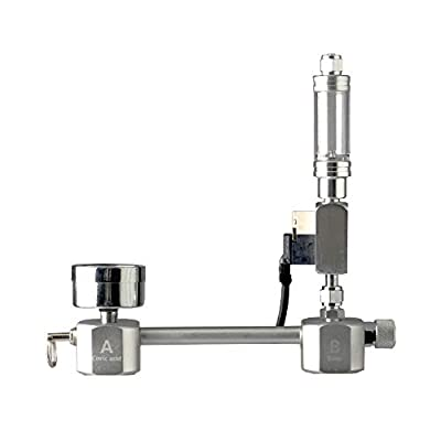 Gecheer Kit de générateur de CO2 bricolage pour aquarium Système de générateur de CO2 Kit de réacteur de dioxyde de carbone acier inoxydable argent