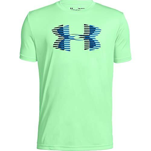 Under Armour Jungen Tech Big Logo Solid Tee Kurzarmshirt, Green Typhoon/Blue Circuit/Academy (375), YXS (Kind Under Armour)
