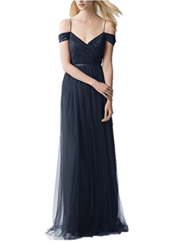 Promworld Damen A-Linie Kleid Marineblau