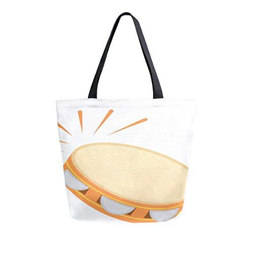 Reopx Beating Little Tambourine Glücklicherweise Tragbare Doppelseitige Casual Canvas Tragetaschen Handtasche Schulter Wiederverwendbare Einkaufstaschentasche Frauen Männer Lebensmittelgeschäft