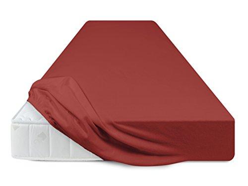 Schlafgut - Flausch-Jersey-Spannbetttuch in Exklusiver Qualität - in 3 Größen & 13 ausgesuchten Farben - 100% Mako-Baumwolle mit Hochflor-Effekt, 140-160 x 200 cm, Kirsche