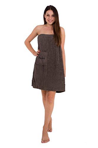 Saunakilt für Damen 75 x 140 cm Julie Julsen mit Druckknöpfen und Gummizug 100% Baumwolle Tasche aufgesetzt Anthrazit