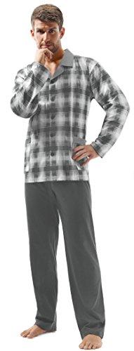 e.VIP® Herren Schlafanzug OSKAR 200, Langarm, lange Hose, reine Baumwolle, in Farben: Marine kariert oder Grau kariert, verschiedene Größen Grau