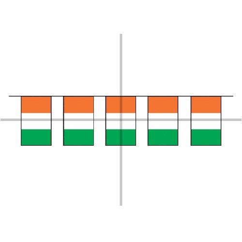 9 m, 32 Flaggen-Girlande Irland, Polyester