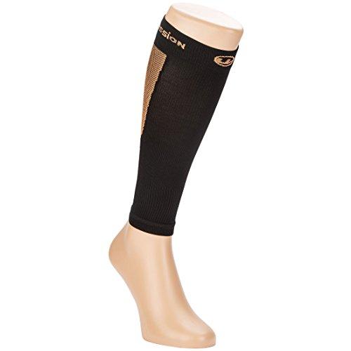Ultrasport Kompressions-Beinlinge, Hochleistungs-Kompressions-Wadenschoner Level 23-32 mmHg: Beinstulpen für intensiven Laufsport, Schwarz/Orange, 25-31 (Socke Kompressor)