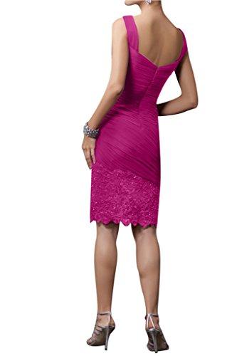Ivydressing Damen Mit Stola Kurz Chiffon Mutterkleid Festkleid Abendkleid Fuchsie