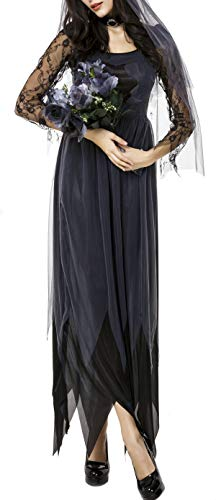 Bslingerie Schwarz Corpse Bride Zombie Halloween Kostüm Kleid (Zombie Kleid, ()