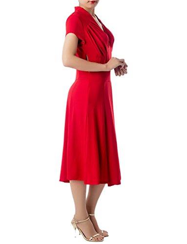 iB-iP Damen Hoher Kragen Retro Schlanker Gestalten Knielang A-Line Kleid Rot