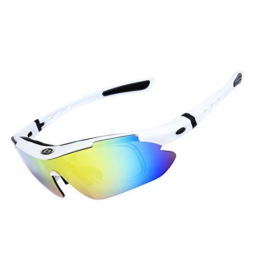 Yiwa Schutzbrille -Augenschutz, Unisex (Herren/Damen),Outdoor Polarisierte Fahrradbrille Hohe Lichtdurchlässigkeit PC Sportbrille Reines Weiß