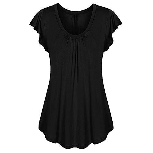 HEATLE Mode Damen Sommer Tops Täglich Volumenkante Mit Falten Geraffter O-Neck Kurzärmliges, Unregelmäßiges T-Shirt(Schwarz,3XL)