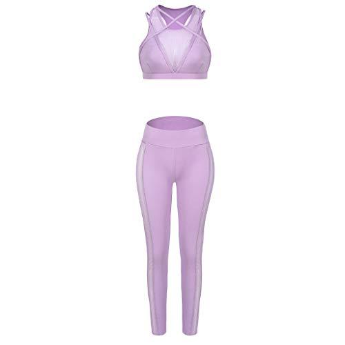 Qiuday Damen Yoga Trainingsanzüge Sport Shirt Langarm Trainingshose Set Hosen Leggings Tights Shape Stretch Sporthose für Workout Gym Joggen Trainings Fitness Laufen Günstig 2PCS Yogahosen - Fleece-jersey-trainingshose