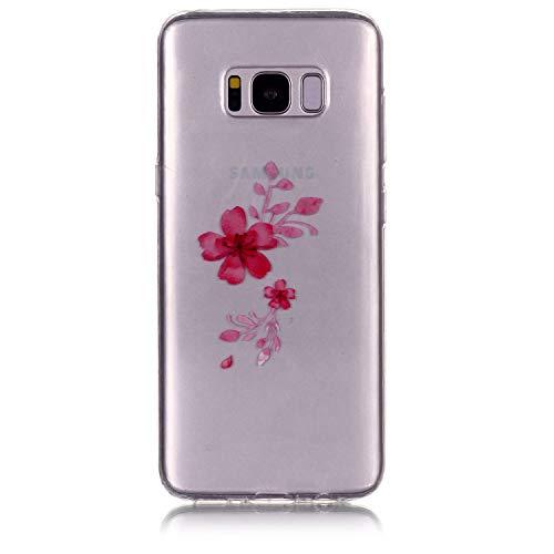 Yobby Durchsichtige Hülle für Samsung Galaxy S8, Samsung Galaxy S8 Blumen Muster Design Handyhülle Transparent Schlank Weich Flexibel mit TPU Gummi Stoßstange Schutz Rückseite-Rote Kirschblüten