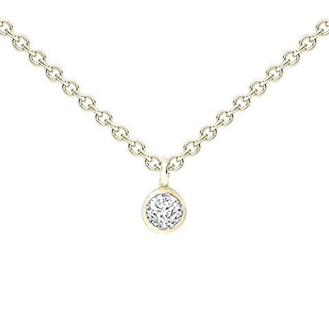 Zoe Chicco Women's 14ct Yellow Gold Round White Diamond Bezel Setting Necklace of Length