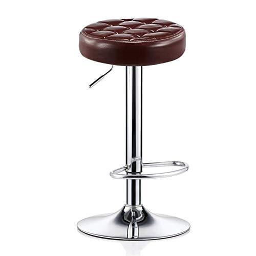 HYYDP Tresenhocker Barhocker Stuhl mit PU-Sitzfußstütze Verstellbarer Gasheber, Höhe 68~80 cm für die Küche Bar Salon Spa Clinic Verchromter Tellerfuß max.Laden Sie 440lb (Color : Brown)