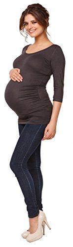 Happy Mama. Damen Elastischer T-Shirt Top Oberteil Schwangere. 3/4-Ärmeln. 998p Graphit