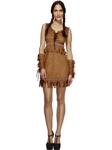 Luxuspiraten - Damen Frauen Western Indianerin Pocahontas Kostüm mit Kleid und Armmanschetten, perfekt für Karneval, Fasching und Fastnacht, S, Braun (Frauen Pocahontas Kostüm)