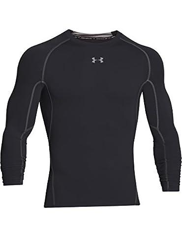 Under Armour Men's HG Long Sleeve Compression T-Shirt - Black/Steel, Large