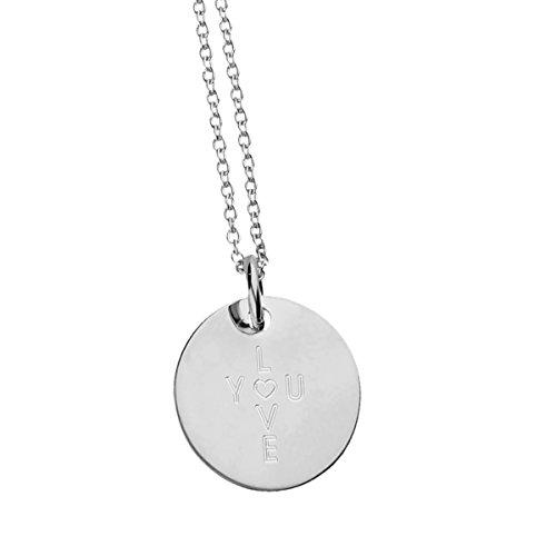URBANHELDEN - Damen-Kette I Love You - mit Rundem Anhänger u Gravur - Hals Kette Amulett aus 925er Sterlingsilber - Silber