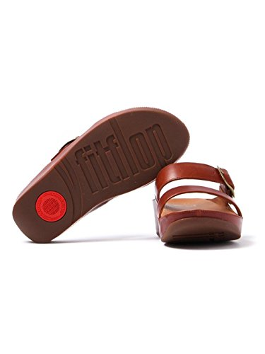 FitFlop Womens Stack Slide Leather Sandals Braun