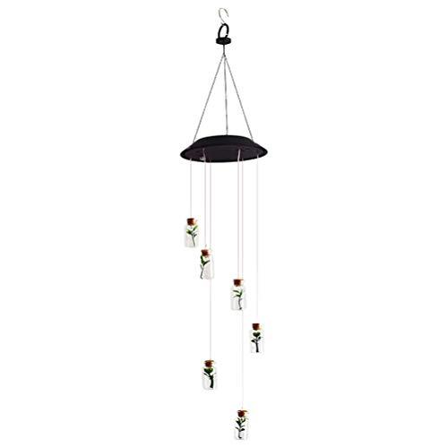 Mobestech Luz Solar del jardín Luz de carillón de Viento de Botella de Deseos es Que cuelga Lámpara de Colores Decorativa Luz LED para Patio de jardín al Aire Libre (Negro)