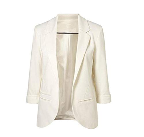 Chaqueta de Traje de Negocios para Mujer Blazers Manga 3/4 Slim Fit Elegante Blázer Blanco S