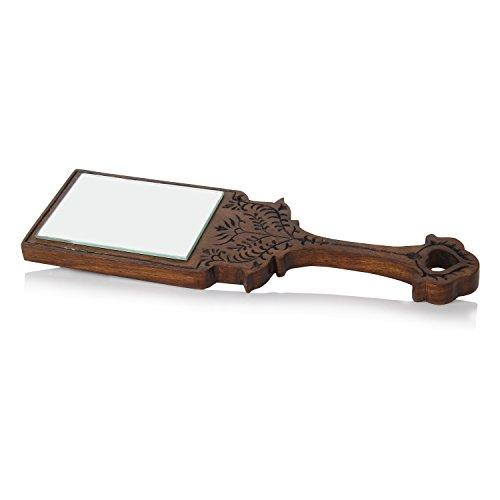 ld Spiegel mit Hand geschnitzt Design in Sheesham Holz/Rosenholz (Holz-hand-spiegel)