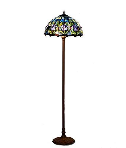 QCKDQ 16-Zoll-Stehlampe, Tiffany-Stehlampe mit Blauer Tulpen-Buntglaslampe, Schlafzimmerdekoration beleuchtet E27, Max60w -