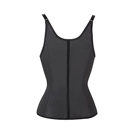 FeelinGirl Damen Vollbrust Korsett Training Sport Korsage Latex Waist Cincher mit Trägern Tailenmider Top Schwarz mit Haken und Reißverschluss