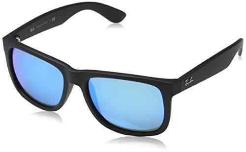 RAYBAN Unisex Sonnenbrille Justin Gestell: Schwarz, Gläser: Blau Verspiegelt 622/55), Small (Herstellergröße: 51)