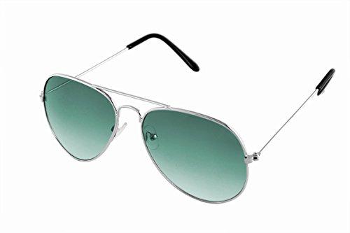 SHVAS UV Protection Unisex Aviator Silver Green Sunglasses [DUBORNSILGREEN]