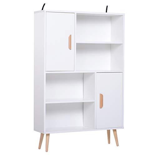 HOMCOM Kommode Sideboard Schubladenkommode Highboard Schrank Anrichte Schuhschrank Küchenregal Küchenschrank mit 2 Türen 5 Fächern