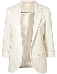 Blazer Mujer Verano Elegante Negocios Oficina De Solapa Chaqueta De Traje Mode De Marca Color Sólido