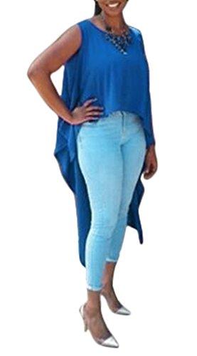 Bigood T-shirt Sans Manche Femme Coton Top Col Rond Chemise Longue Derrière Blouse Casual Mode Bleu