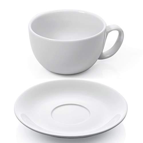 sen Set 12-TLG. weiß Porzellan Kaffeetasse Untertasse Café au Lait Milchkaffee Cappuccino Caffè Latte Kaffee Tasse dickwandig Füllmenge 350 ml ()