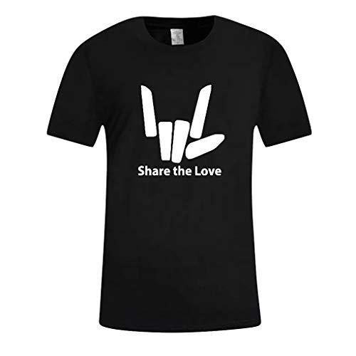 d412695e6 Waotier Camiseta De Manga Corta De Hombre Ropa ImpresióN De Letras con  Texto Share The Love