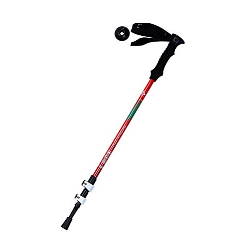 RUIRUI Bastoncini da trekking, regolabile retrattile anti-shock durevoli Sticks alluminio escursionismo per Outdoor Walking Trekking Climbing, 1 pezzo , yellow