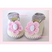 Bebé recién nacido zapatos de punto crochet zapatos. Regalo para bebe 6b7ff589d86