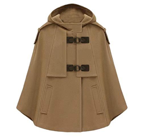 Andopa Damen schal aus wolle short classics mit kapuze fall poncho pea coat US X-S=China S Camel (Damen Wolle Camel Coat Pea)