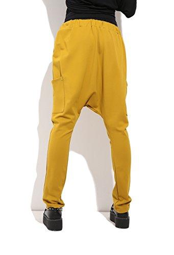 ELLAZHU signore di colore solido formato harem pants GY547 Giallo
