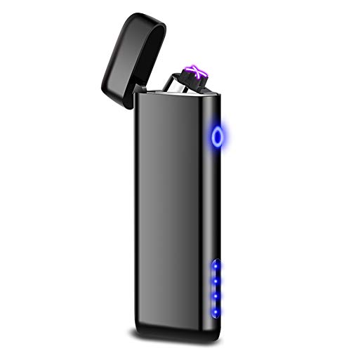 Funxim Elektronisches Feuerzeug, USB Wiederaufladbare Plasma Feuerzeug, Winddichtes Doppel-Arc Flammenloses Feuerzeug für Kerze, Zigarette, Outdoor-Camping, Upgrade-Version mit Power-Anzeige