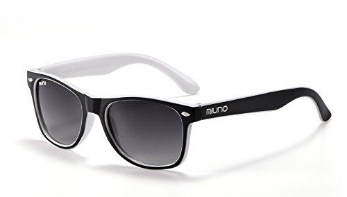 Miuno Kinder Sonnenbrille Wayfare für Jungen und Mädchen Etui 2688 (Schwarz/Weiß)