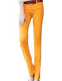 ZhuiKunA Mujer Elasticidad Slim Fit Skinny Vaqueros Micro Pantalones  Acampanados 2e314268899b