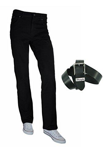 Herren Schwarz Wrangler (Wrangler TEXAS STRETCH Herren Jeans Regular Straight Fit inkl. Wrangler Basic Ledergürtel versch. Waschungen)