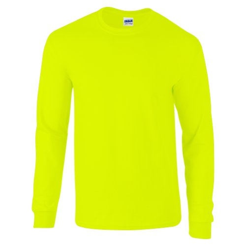 GILDAN Ultra Cotton L/Sleeve Tee, Maglietta Uomo Vert - Safety Green