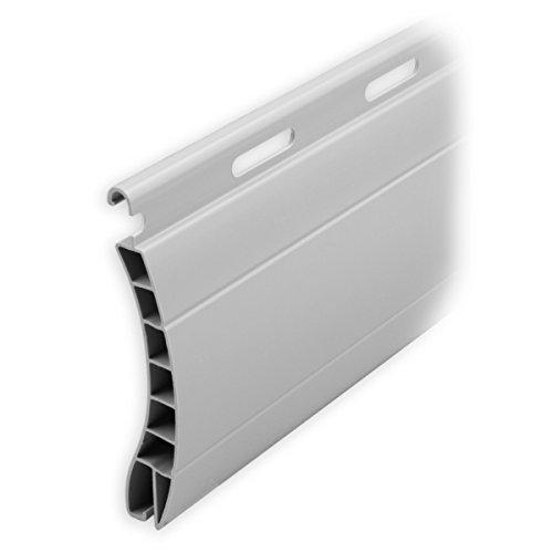 DIWARO Kunststoff Rolladen Ersatzlamelle Profil Aalen, Deckbreite 55mm Nenndicke 14mm, Fixlänge 1100 mm in der Farbe Grau (Profil Aalen | Farbe Grau | Länge 1100mm)