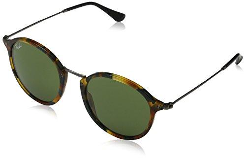 Ray-Ban Herren Sonnenbrille Rb 2447 Mehrfarbig (Gestell: schwarz-Havana gefleckt Gläser kristall grün 1,1594)), Large (Herstellergröße: 56)