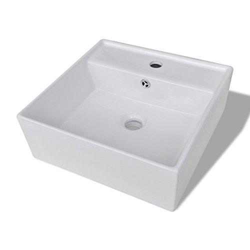 Festnight Keramik Waschtisch Eckig Waschbecken 41x41cm Handwaschbecken Keramikspülen mit Überlauf Hahnloch für Badezimmer Waschzimmer